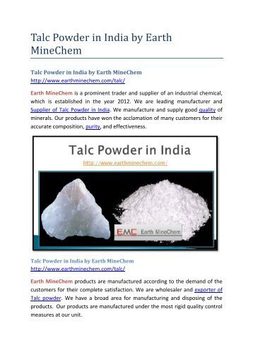 Talc Powder in India by Earth MineChem