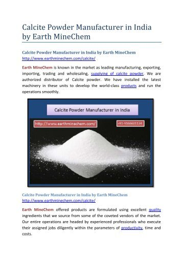 Calcite Powder Manufacturer in India by Earth MineChem