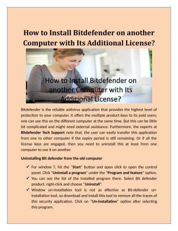 How to Install Bitdefender on another Computer with Its Additional License?