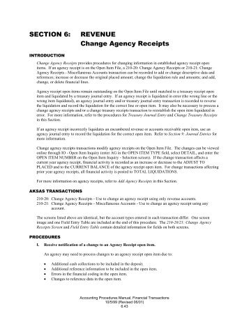 SECTION 6: REVENUE Change Agency Receipts