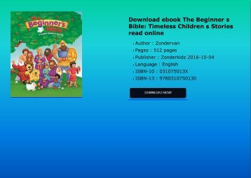 Download ebook The Beginner s Bible: Timeless Children s Stories read online