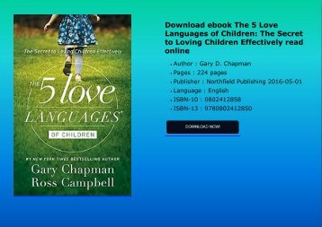 Download ebook The 5 Love Languages of Children: The Secret to Loving Children Effectively read online