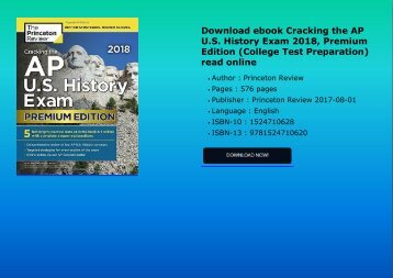Download ebook Cracking the AP U.S. History Exam 2018, Premium Edition (College Test Preparation) read online