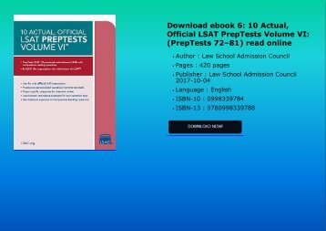 Download ebook 6: 10 Actual, Official LSAT PrepTests Volume VI: (PrepTests 72–81) read online
