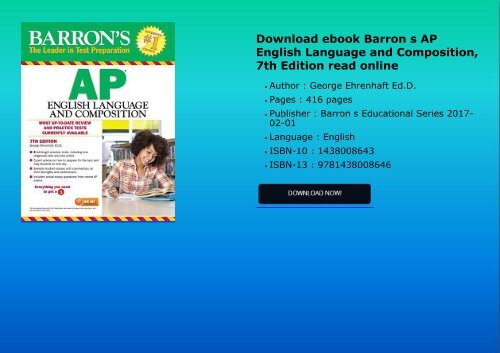 Download Ebook Barron S Ap English Language And Composition 7th