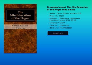 Download ebook The Mis-Education of the Negro read online