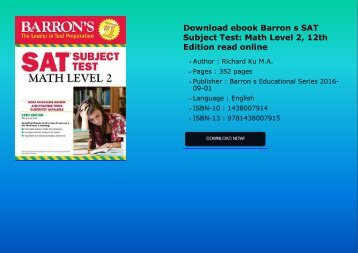 Download ebook Barron s SAT Subject Test: Math Level 2, 12th Edition read online