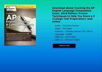 Download ebook Cracking the AP English Language   Composition Exam, 2018 Edition: Proven Techniques to Help You Score a 5 (College Test Preparation) read online