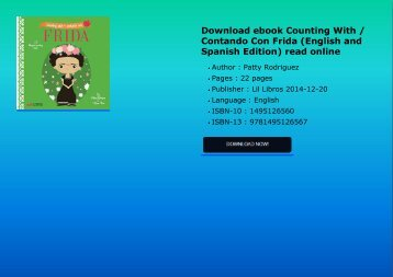 Download ebook Counting With / Contando Con Frida (English and Spanish Edition) read online