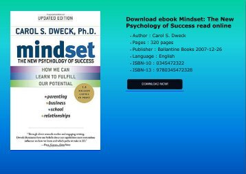 Download ebook Mindset: The New Psychology of Success read online