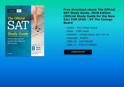 Free Download Ebook The Official Sat Study Guide 2018 Edition