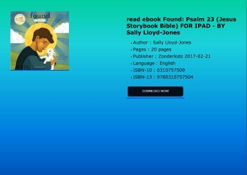 read ebook Found: Psalm 23 (Jesus Storybook Bible) FOR IPAD - BY Sally Lloyd-Jones