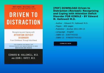 Pdf download driven to distraction revised recognizing and pdf download driven to distraction revised recognizing and coping with attention fandeluxe Images
