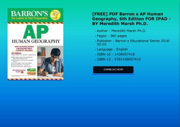 [FREE] PDF Barron s AP Human Geography, 6th Edition FOR IPAD - BY Meredith Marsh Ph.D.