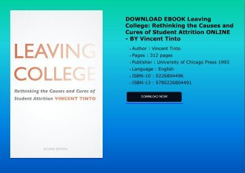 DOWNLOAD EBOOK Leaving College: Rethinking the Causes and Cures of Student Attrition ONLINE - BY Vincent Tinto