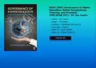 READ [PDF] Governance of Higher Education: Global Perspectives, Theories, and Practices (PDF,EPUB,TXT) - BY Ian Austin