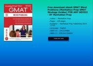 Free download ebook GMAT Word Problems (Manhattan Prep GMAT Strategy Guides) FOR ANY DEVICE - BY Manhattan Prep