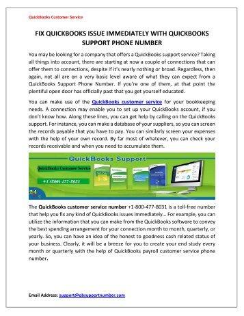 Get QuickBooks Service +1-800-477-8031 from QuickBooks Customer Service