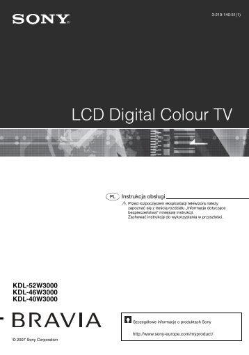 Sony KDL-52W3000 - KDL-52W3000 Mode d'emploi Polonais