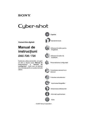 Sony DSC-T20 - DSC-T20 Mode d'emploi Roumain