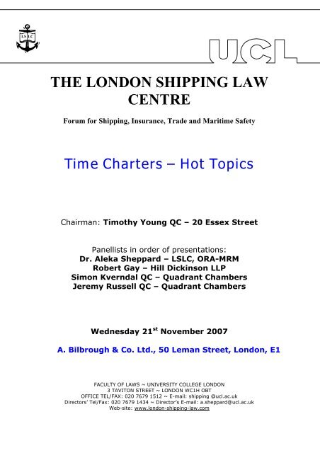 Time Charters - London Shipping Law Centre