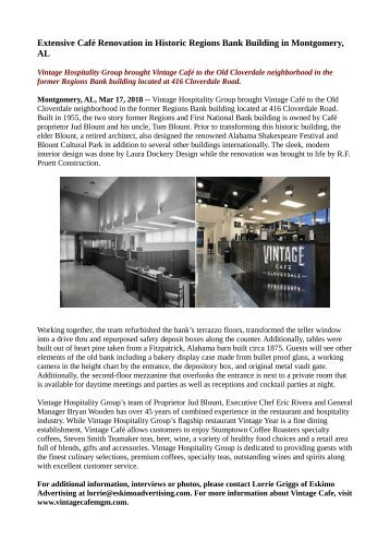 Extensive Café Renovation in Historic Regions Bank Building in Montgomery, AL