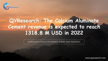 QYResearch: The Calcium Aluminate Cement revenue is expected to reach 1318.8 M USD in 2022