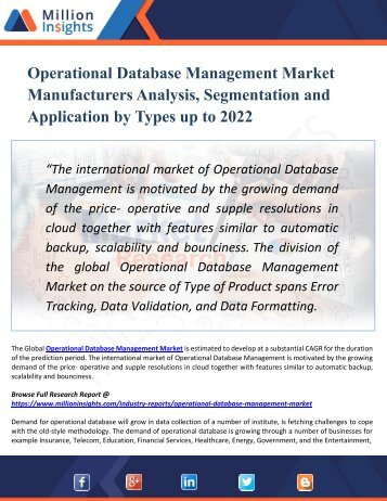 Operational Database Management Market Manufacturers Analysis, Segmentation and Application by Types up to 2022
