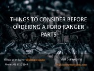 Things to Consider Before Ordering a Ford Ranger Parts