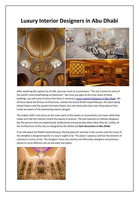 Luxury Interior Designers In Abu Dhabi