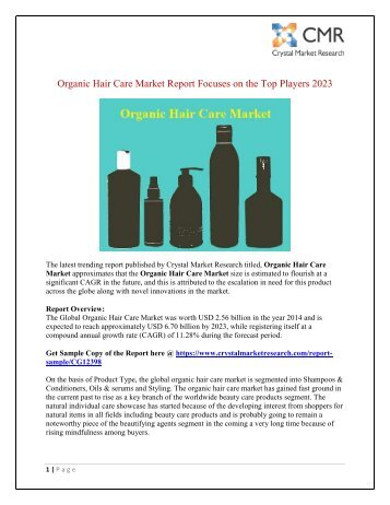 Organic Hair Care Market to Rear Excessive Growth during 2014 – 2023