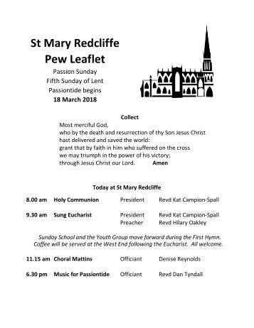 St Mary Redcliffe Church Pew Leaflet - March 18 2018