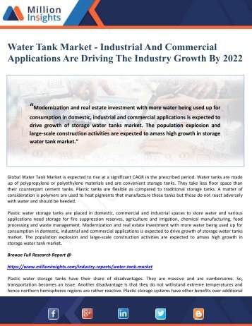 Water Tank Market - Industrial And Commercial Applications Are Driving The Industry Growth By 2022