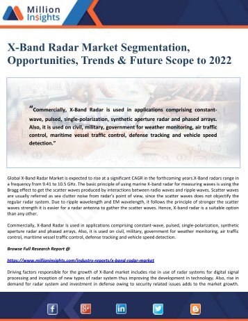 X-Band Radar Market Segmentation, Opportunities, Trends & Future Scope to 2022