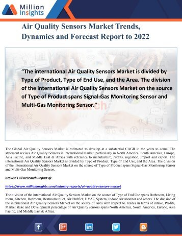 Air Quality Sensors Market Trends, Dynamics and Forecast Report to 2022