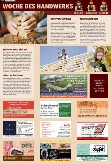 Woche des Handwerks: Schreiner, Zimmerer, Dachdecker