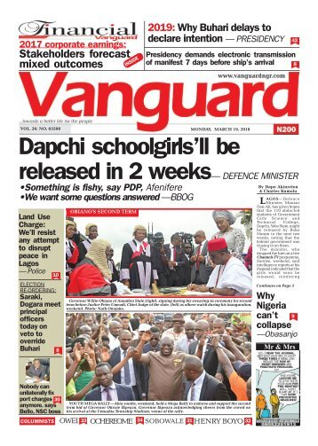 19032018 - Dapchi schoolgirls'll be released in 2 weeks— DEFENCE MINISTER
