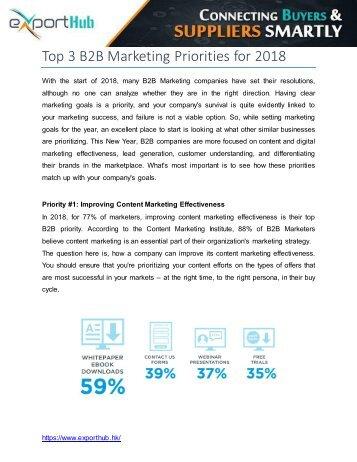 Top 3 B2B Marketing Priorities for 2018