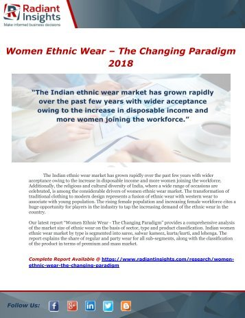 Women Ethnic Wear – The Changing Paradigm 2018