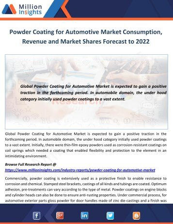 Powder Coating for Automotive Market Consumption, Revenue and Market Shares Forecast to 2022