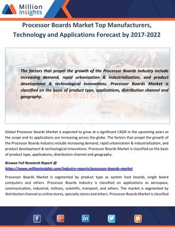 Processor Boards Market Top Manufacturers, Technology and Applications Forecast by 2017-2022