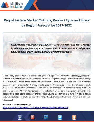Propyl Lactate Market Outlook, Product Type and Share by Region Forecast by 2017-2022