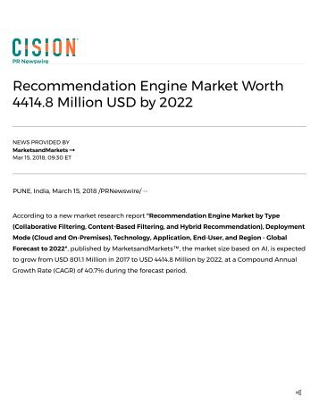 Recommendation Engine Market worth 4414.8 Million USD by 2022