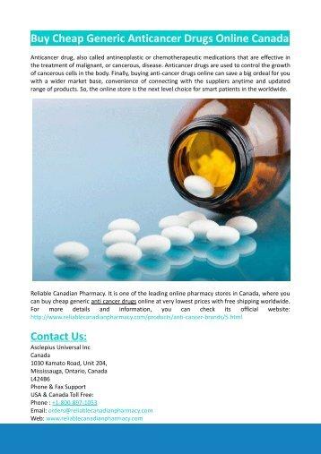 Buy Cheap Generic Anticancer Drugs Online Canada