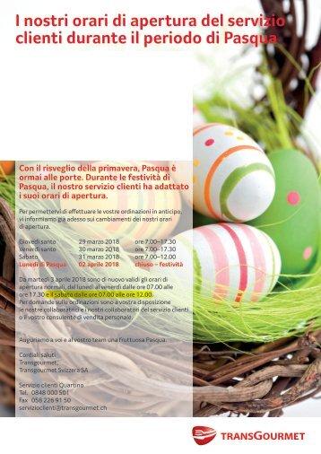 I nostri orari di apertura del servizio clienti durante il periodo di Pasqua