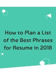 How to Plan a List of the Best Phrases for Resume in 2018