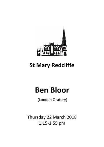 Free Lunchtime Organ Concert, March 22 2018 - Ben Bloor