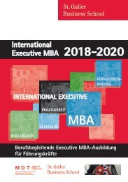 International Executive MBA, St. Galler Business School 2018