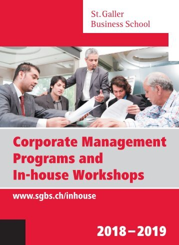 Corporate Management Programs and In-house Workshops 2018-2019