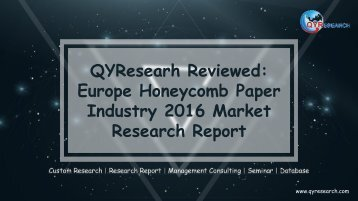 QYResearh Reviewed: Europe Honeycomb Paper Industry 2016 Market Research Report